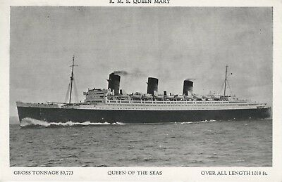 R.M.S. Queen Mary ~ Queen Of The Seas ~ Ship Ships Boat Boats c1936 Postcard