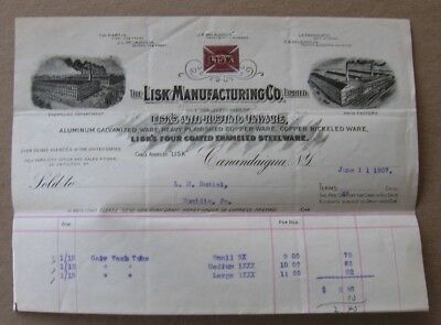 1907 Lisk Manufacturing Canandaigua NY Letterhead~Anti-Rusting Tinware~Factories