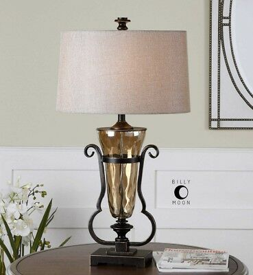 Tuscan Style Light Amber Water Gl Table Lamp Bronze Details French Country