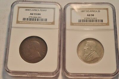 Lot of (2) South Africa NGC 2S 1897 AU 58, Penny 1898 AU 55, Silver 2 Shillings