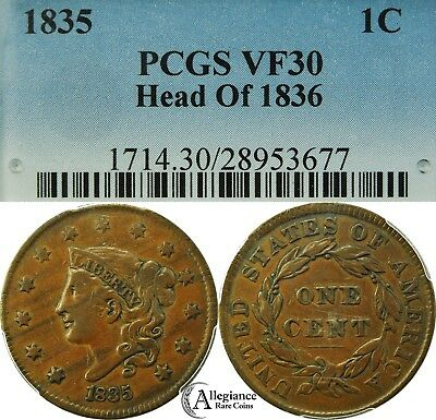 1835 1c Coronet Head Large Cent PCGS VF30 rare old type coin Head of 1836 penny