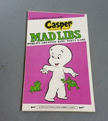 Vintage casper the friendly ghost Mad Libs 1981 party game Unused