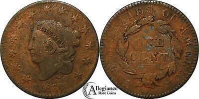 1830 1c Coronet Head Large Cent NICE GRADE medium letters rare type coin penny