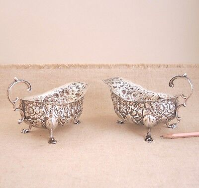Pair 1873-1891 Tiffany & Co Floral Repousse Sauce Pitcher Boat Sterling Silver