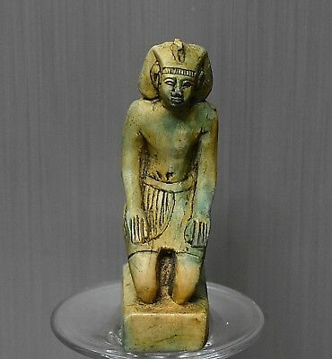 ANCIENT ANTIQUE Egyptian  Pharaoh Sitting squatting statue (1500-300 BC)