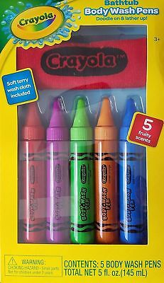 Crayola Bathtub Body Wash Pens, Fruity Scents, 5 Colors with Wash Cloth