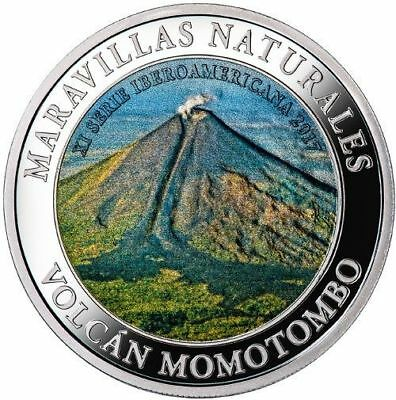 2017 Nicaragua Commemorative Silver Coin Of Mombacho Volcano. Natural Wonders.