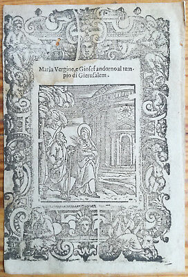 Post Incunable Leaf Rosario Woodcut Maria Giosef Gierusalem... Venice - 1521#