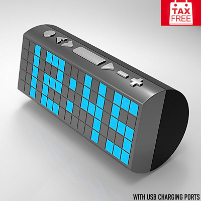 New Digital Clock Radio Dual Alarm Blue LED With USB Charging Port Large Display