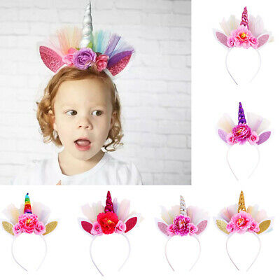 Unicorn Kids Girls Hair Hoop Hair Clips Glitter Party Hair Accessories Baby
