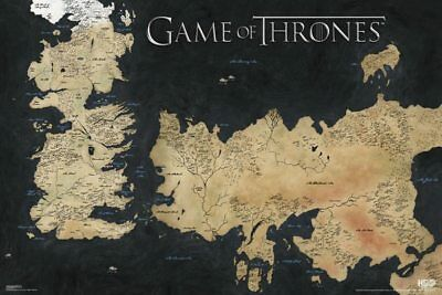 (LAMINATED) GAME OF THRONES MAP POSTER 91x61cm WESTEROS ESSOS ART PRINT PICTURE