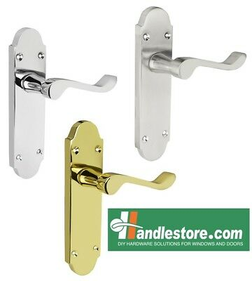 Epsom Latch Interior Door Handles  Polished/Satin Chrome and Brass 168mmx42mm