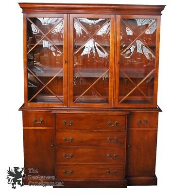 Saginaw Furniture Mahogany Breakfront W/ Butlers Desk Bubble Glass China  Cabinet