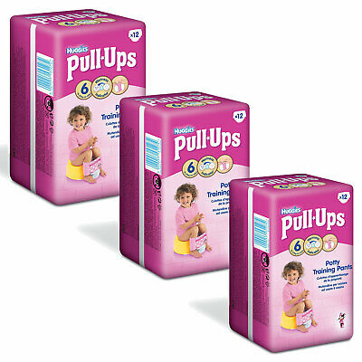Huggies Pull-Ups Potty Training Pants For Large Size 6 & 16-23kg Girls Pack Of 3