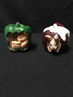Charming Tails Silvestri ornaments Squirrel in Pepper and Rabbit in Apple.