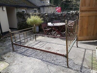 Antique / Vintage French Double Brass Bed (Iron Frame)