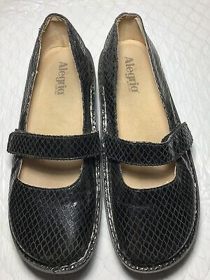 Alegria Women's Mary Jane Black Leather Shoes Size-40