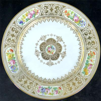 N516 ANTIQUE 19TH CENTURY FRENCH SEVRES STYLE PORCELAIN PLATE FLOWERS GILT c