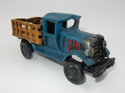 Vintage Heavy Cast Iron Blue Stake Body Toy Truck ~ Unique Item