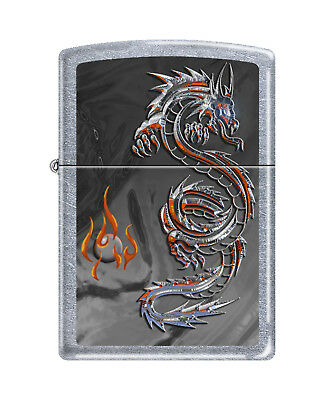 "Zippo ""Dragon & Flame"" Street Chrome Finish Lighter,  3538"