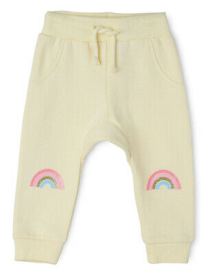 NEW Sprout Girls Essential Trackpant - Rainbow Knee/ Lemon