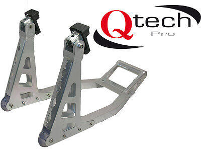 Qtech Motorcycle Motorbike FRONT Paddock STAND Universal Fit with Nylon Rollers