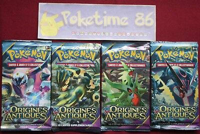 Pokémon,   lot de 4  boosters  XY ORIGINES ANTIQUES, neufs, VF
