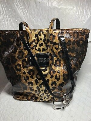 Guess Handbag Patent Leather Animal Print Black Gold Large Tote