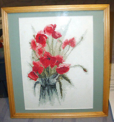 Jug Of Poppies John Clayton Finished / Completed Counted Cross Stitch Heritage