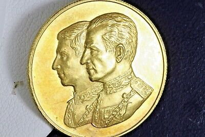 Rare! 1977 Iran 90% Gold Proof Medal Prince Reza Pahlavi's 18th Birthday 10 Gram
