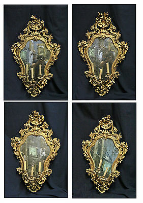 Group Of 4 Fantastic Mirrors Lombarde, Period '700, Carved And Gilded