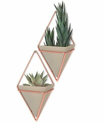 2 x Umbra TRIGG Small WALL VESSEL CONCRETE COPPER Organiser FLOWER POT Holder