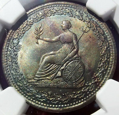 1815 Halfpenny Token, Lower Bas Canada - MS63 NGC - LC-54D2, Eagle, 1800s, Toned