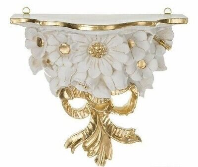 Wall Console Baroque Antique White/Gold 28x12 Mirror Cream Gold Shelf