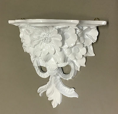Wall Console White Baroque Table Decor Flowers 28x12 Antique Mirror CP 81 Shelf