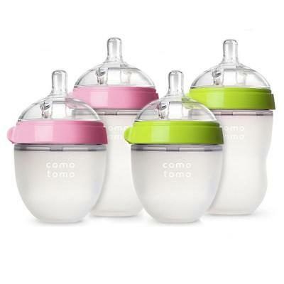 Comotomo Baby Bottle 150ml 250ml Anti Colic Green Pink Silicone