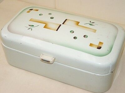 Beautiful old enamel lunch box, Email Bread Box, Art Deco Spraying Decor