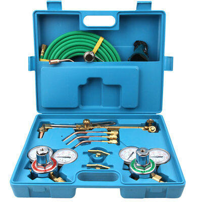 Gas Welding Cutting Tool Kit Acetylene Oxygen Torch Regulator w/ 15'Hose Blue