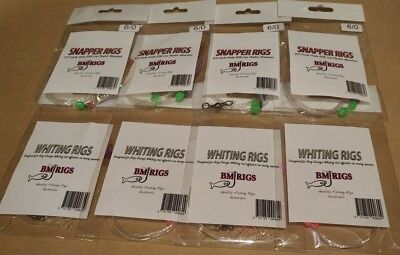 BM RIGS 8 x Whiting & Snapper Rig VALUE PACK Fishing Rigs Flasher Circle Hooks
