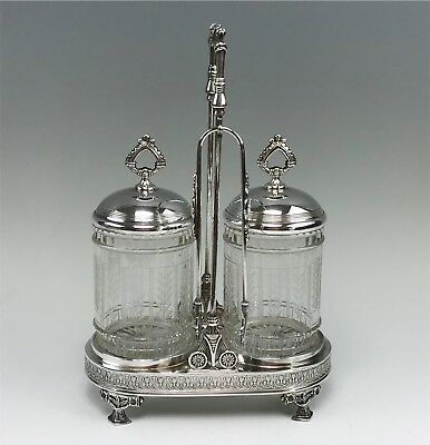 Antique Pairpoint Quadruple Plate Double Pickle Castor in Stand