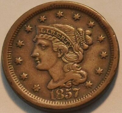 1857 Large Cent, Higher Grade Details Braided Hair Penny Scarce Semi-Key Date 1C