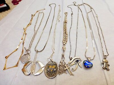 8 Sterling Silver Necklace Jewelry, 142 grams total