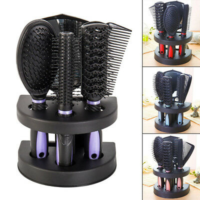 5pcs Women Ladies Hair Brush Massage Comb Holder Set With Mirror & Stand Holder