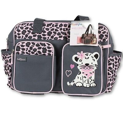 BABY BOOM Pink Gray Cheetah Duffel Diaper Bag with Changing Pad 7 Pockets