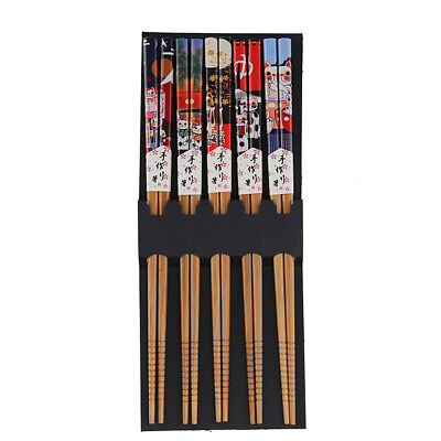 5 pairs Lucky Cat Bamboo Chopsticks Handmade Wood Wooden Chopstick Set