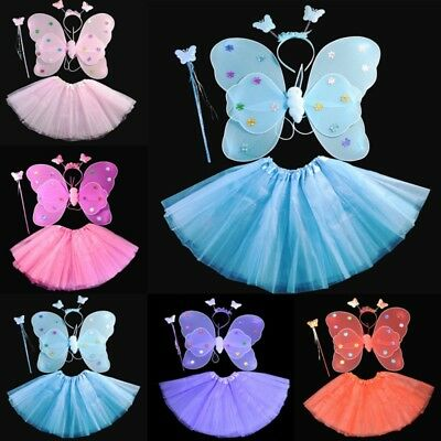 Kids Girls Angel Fairy Butterfly Wings Skirt Fancy Dress Up Halloween Outfit