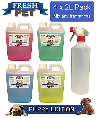 4 x 2L FRESH PET Kennel Dog Disinfectant PUPPY EDITION + EMPTY 1L SPRAY BOTTLE