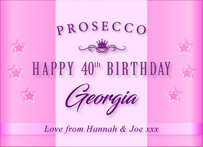 Personalised Happy Birthday PROSECCO LABEL (any age)