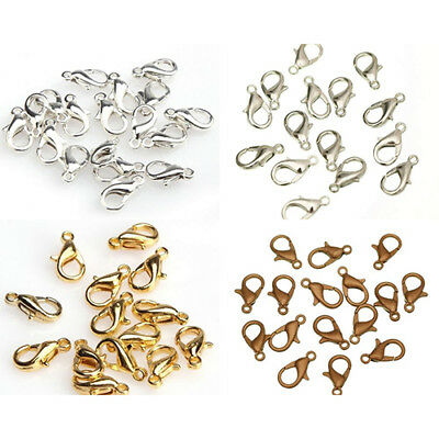 100Pcs 10/12mm Lobster Clasps for Jewelry Making Necklace Bracelet Findings