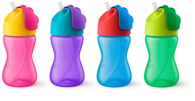 Avent - Bendy Straw Cup 12m+ 300ml CHOOSE COLOUR - Dinosaur Baby Bottle